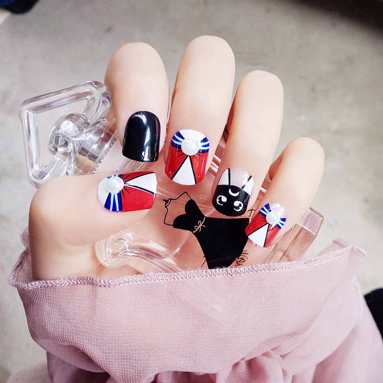 Us 545 9 Offsailor Moon Cartoon Pattern Fake Nails Japanese Pure Color Cute False Nails 24pcs With Glue Short Size Full Nail Tips Lady In False