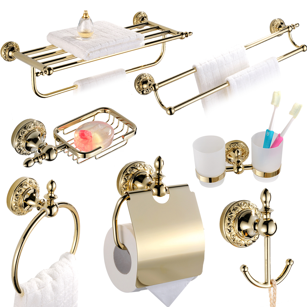 Luxury european fashion resin bathroom products accessories set high - Luxury Solid Brass Ti Pvd Finish Wall Mounted Bathroom Accessories Antique Gold Bath Hardware Sets Carved