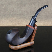 Best Ebony Wood Pipe 9mm Filter Smoking Pipe Chinese Style Tobacco Pipe with 10 tools Handmade Bent Wooden Pipe Smoke Tool