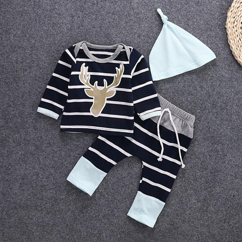 Clearance Autumn clothing Hot Baby Boys girls Unisex Clothes Infants Tops Hat Pants suit stripe Costume outfits Deer Head Prin ...