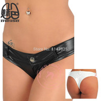 New Sexy Women Faux Leather T Crotch Low Rise Shiny Micro Mini Thong Shorts Hot Dance