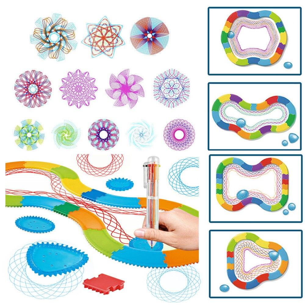 Original Spirograph Rails Design Tin Draw Drawing Kids Create Toys UK Million Flower Ruler Drawing For Children School Kids