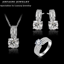 ANFASNI New Arrival Wedding Jewelry Set Silver Color Cubic Zircon Necklace/Earring/Ring Set Choose Size For Ring CST0022-B