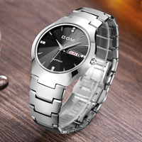 DOM Lovers Watch Luxury Brand tungsten steel WristWatch waterproof Business Quartz watch Black Casual clock wrist watch W698 2