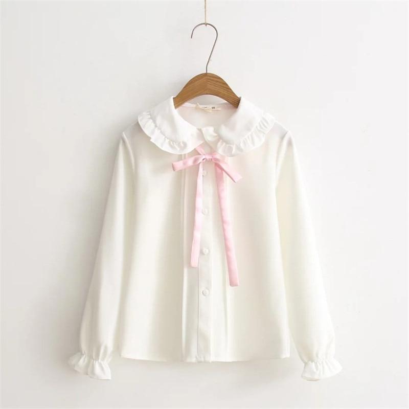 2018 Women Blouses Girls Autumn Long Sleeve Peter Pan Collar Pink Bowknot White Blouse Shirt Japanese School Uniform PZ164