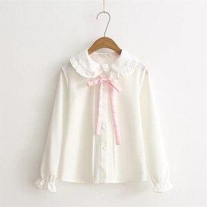 2018 Women blouses girls autumn long sleeve peter pan collar pink bowknot white blouse shirt Japanese school uniform PZ164(China)
