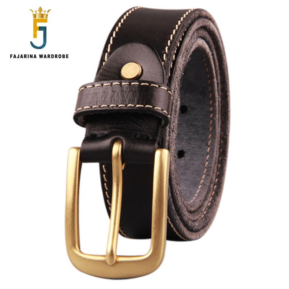 FAJARINA Unisex Luxury Fashion 100 Cow Skin Leather Mens Brass Clasp Buckle Cowhide Belts for Men