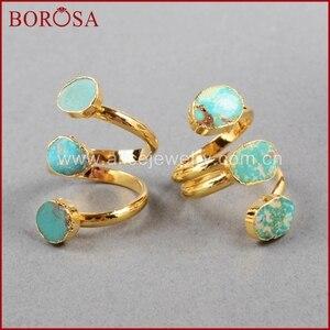Image 3 - BOROSA Böhmen 100% Natürliche Blau Stein Drusy Ringe Vintage Türkisen Verkrustete Ring Gold Überzug Edelsteine Ringe für Frauen Geschenke G0280