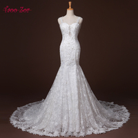 TaooZor Elegant Embroidery Lace with Beaded Crystal Mermaid Wedding Dresses 2017 Sexy Sheer Tulle Back Chapel Train Bridal Gown