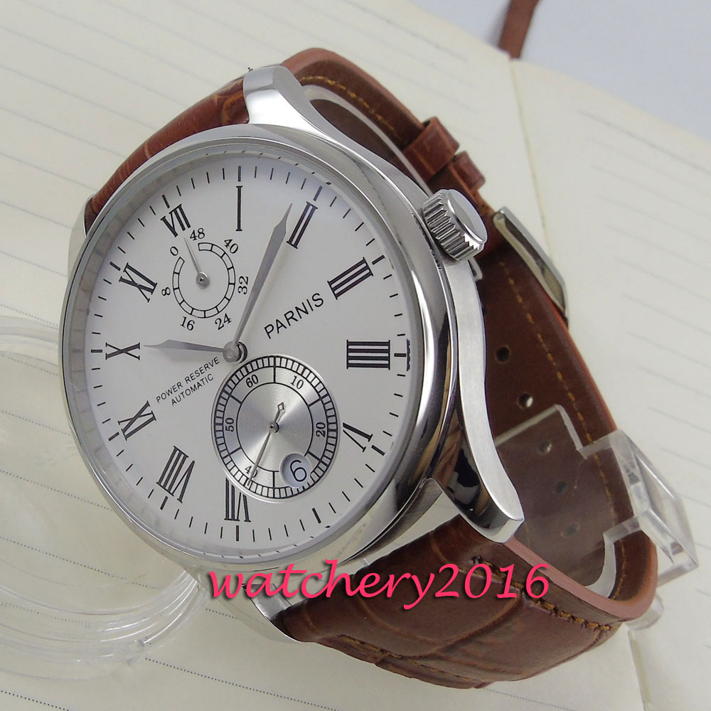 43mm Parnis white dial Automatic date power reserve mens watches top brand luxury automatic mechanical Men's Wrist Watch luxury brand 42mm parnis black dial white dial date 24 hour power reserve moon phase miyota 9100 automatic mens wrist watch p560
