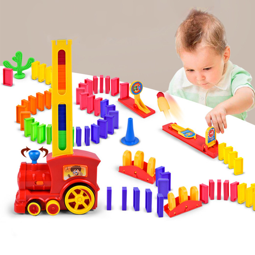 Domino Train Set Catapult Kit Puzzle Educational 120/60pcs Plastic Dominoes Blocks Brick Diy Sound Light Toy Gift For Boy Girl Toys & Hobbies Domino