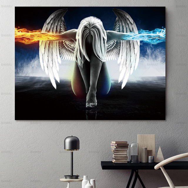 Canvas Painting Wall Art Picture Print Angel Demon Poster Home No Frame