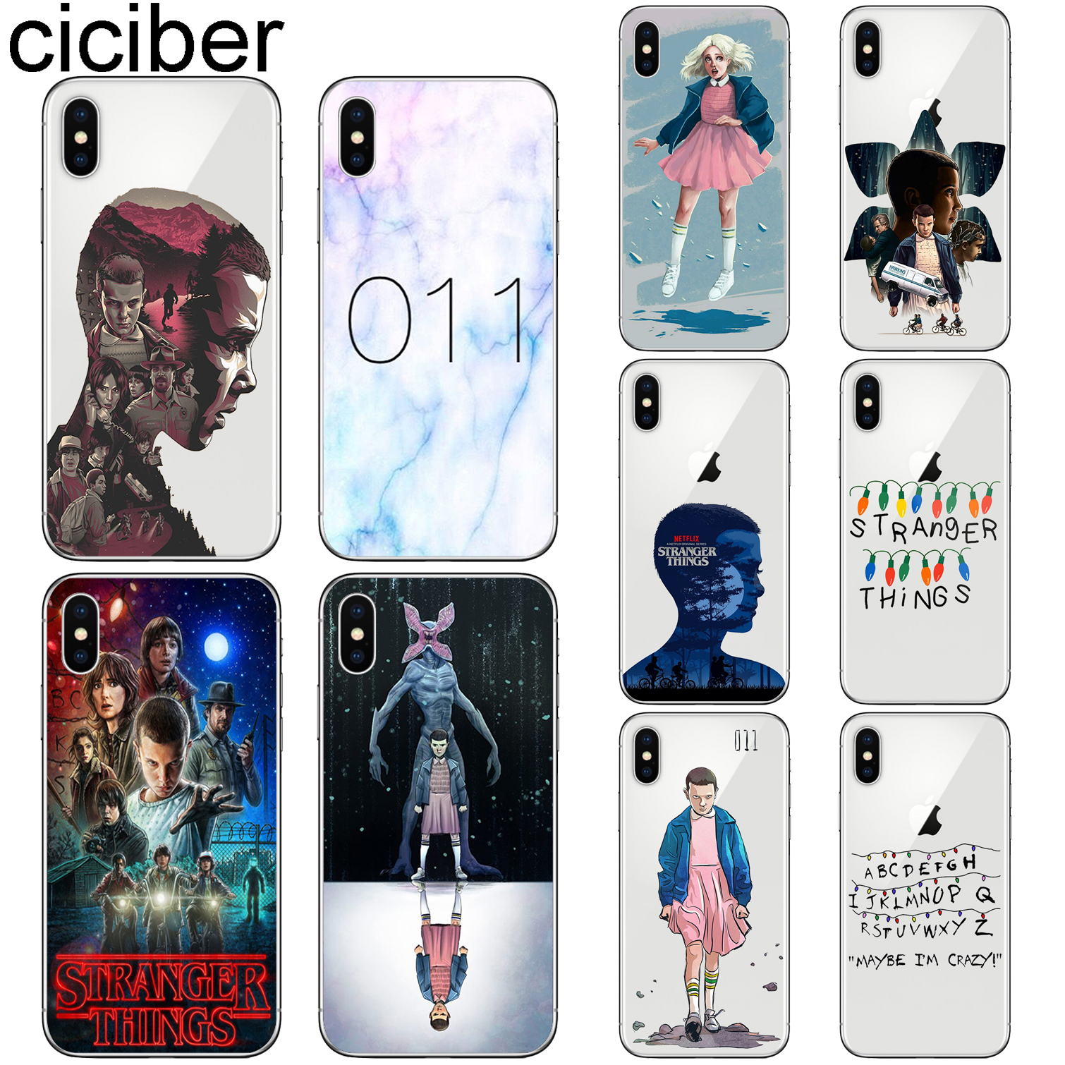 ciciber Stranger Things Cover Funda for Iphone 7 8 6 6S Plus 5S SE 11 Pro Max Soft TPU Phone Case X XS MAX XR Coque