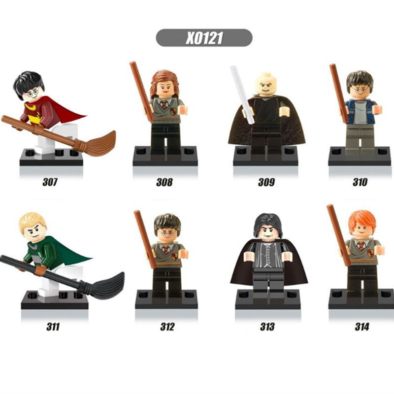 8Pcs/set Harry Potter Hermione Lord Voldemort Malfoy Building Blocks Bricks Set Toys Bricks Gift Compatible Legoed for Children lepin 22001 pirate ship imperial warships model building block briks toys gift 1717pcs compatible legoed 10210