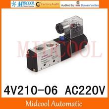 Pneumatic solenoid valve 4V210-06 AC220V port 1/8″ two position five-way valve single coil control valve