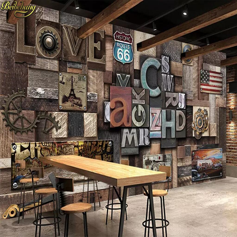 Beibehang Custom Photo Wallpaper Mural Industrial Wind LOVE Stereo Letters Background Wall Papers Home Decor Papel De Parede