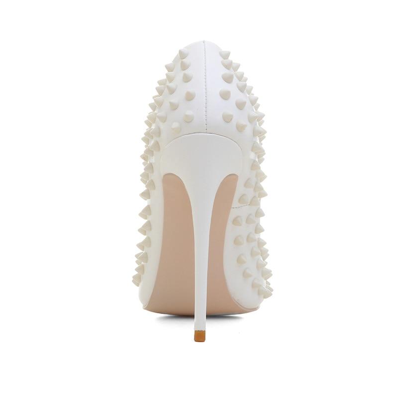 Moda Mayoría Remache Y De 2019 La Zapatos Punta Europea Mujer White Alto Tacón Americana Única Mostrar qdgtxx