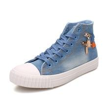 Fashion Spring Autumn High Top Platform Denim Shoes for Women Breathable Zipper Canvas Shoes Women Casual Skate Footwear