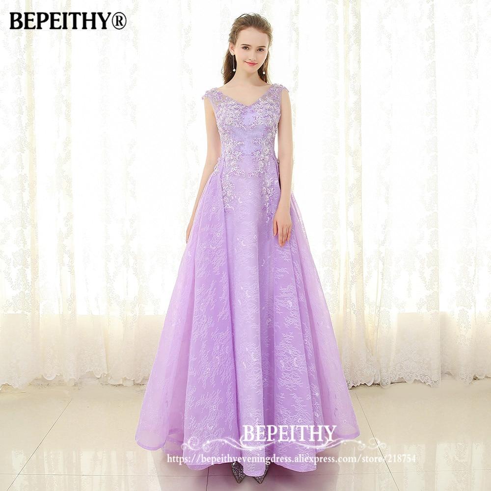 Bepeithy New Arrival V Neck Long Prom Dress Lace Up Back Vestido De