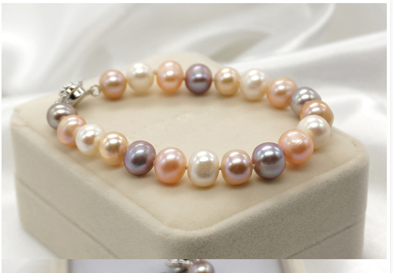Wedding Woman Jewelry Bracelet 10mm Bright Colorful Mixed Real Natural Freshwater Pearl Round Bracelet Rose Clasp