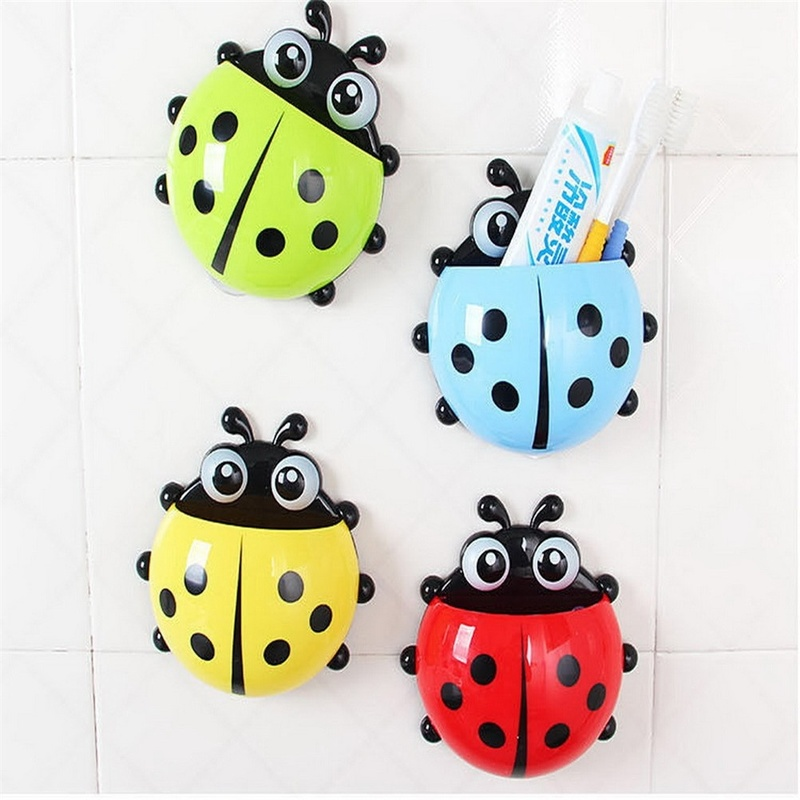 Bathroom Sets Ladybug Wall Toothbrush Holder Storage Toiletries Toothpaste Holders Creative Tooth Brush Container Suction Hooks