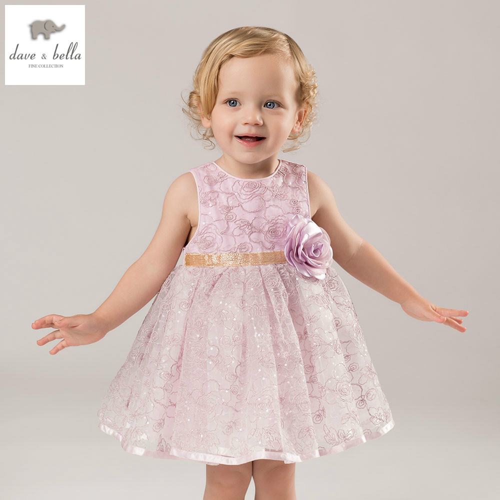 DB5281 dave bella summer baby girls princess dress childs sweet dress kids wedding clothes children dress