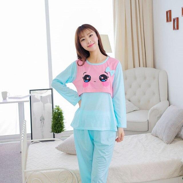 Blue cartoon long sleeved pajamas for Pregnant Woman Confinement Maternity pyjamas cotton Postpartum Lactation clothes