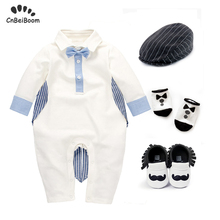 Baby Rompers Newborn Infant clothing set Boys Girls Cotton Jumpsuits gentleman Tuxedo with Bow hat shoes socks clothe sets