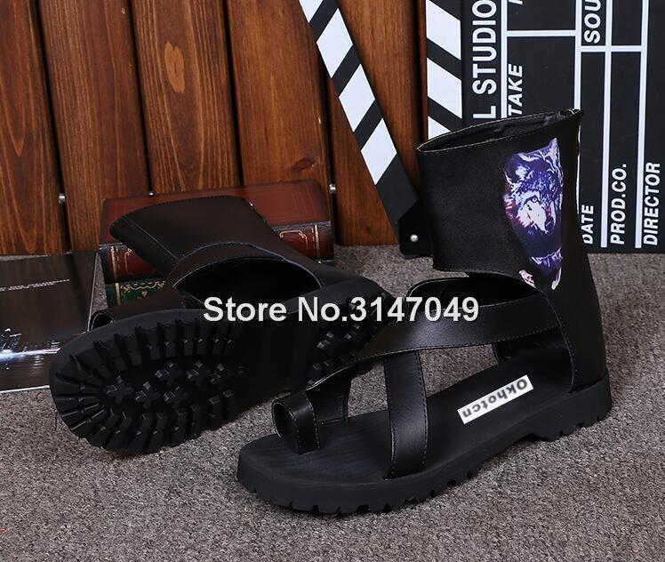 Hommes gladiateur été haut-haut sandale bottes noir Rome sangle chaussures décontractées OKHOTCN Cool plage glisser chaussures grande taille tongs - 5