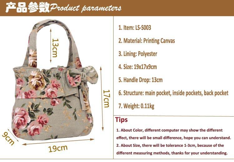 dd98049dcc New Fashion Vintage Canvas Flower Tote Bag Womens Small Size Handbags  Shopping   Travel TOTE Bag Bowknot MINI Handbag