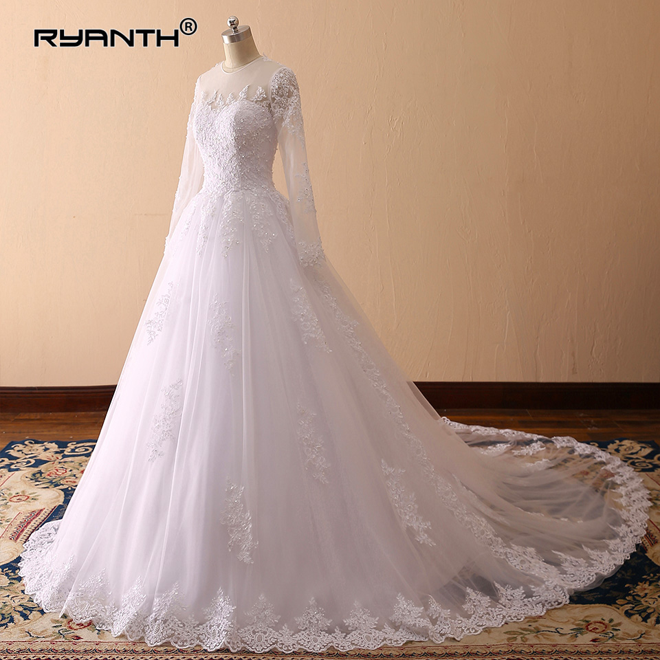 Ryanth Vestido De Noiva Luxury Long Train Ball Gown