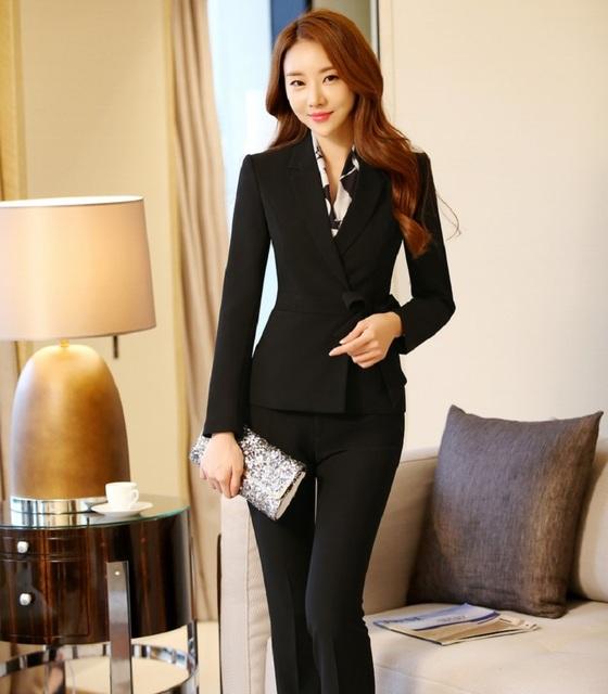 4XL más el Tamaño Formales Oficina de Diseño Uniforme Pantsuits Femenina Otoño Invierno Profesional Ropa de Trabajo Chaquetas Y Pantalones Set