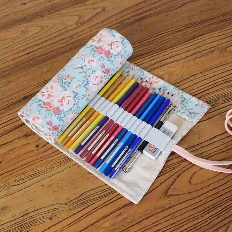 Pencil case 36/48/72 Holes kalemlik Canvas Wrap Roll Up Pencil Pen Bag Holder Case Storage Pouch Portable School Office Supplies