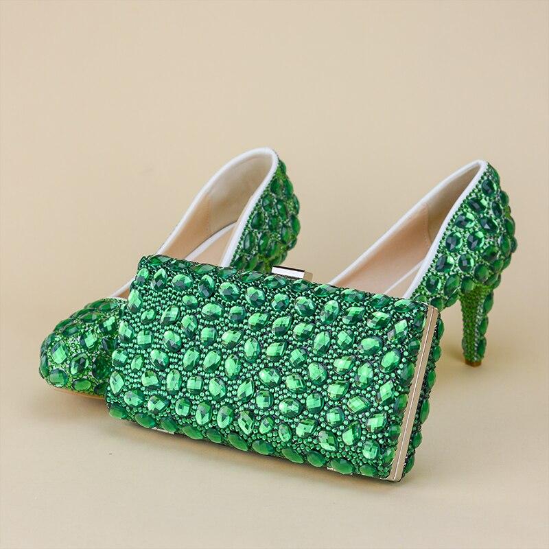 Femmes chaussures cristal rabat vert pompes sac ensemble chaussures de fête avec sacs assortis pour les femmes 2017 chaussures de soirée strass pour mariage