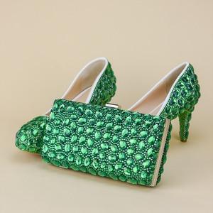 Women Shoes Crystal Flap Green