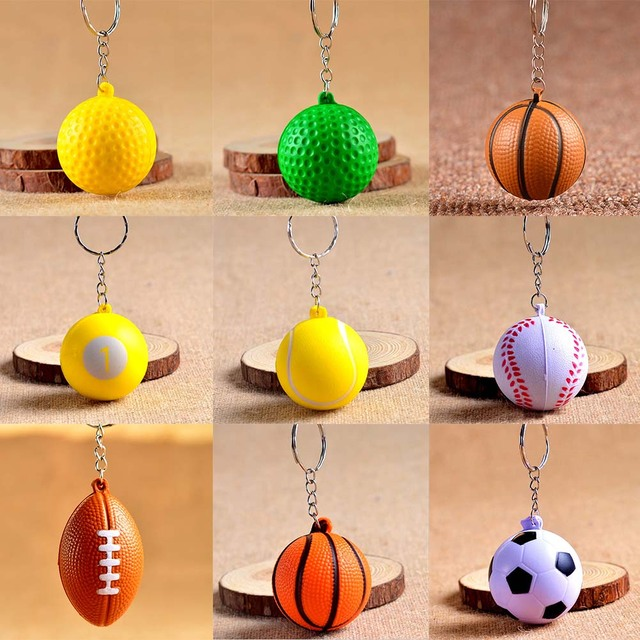 Cheap Football Basketball Baseball Table Tennis PU Keychain Toys Fashion Sports Item Key Chains Jewelry Gift For Boys And Girls