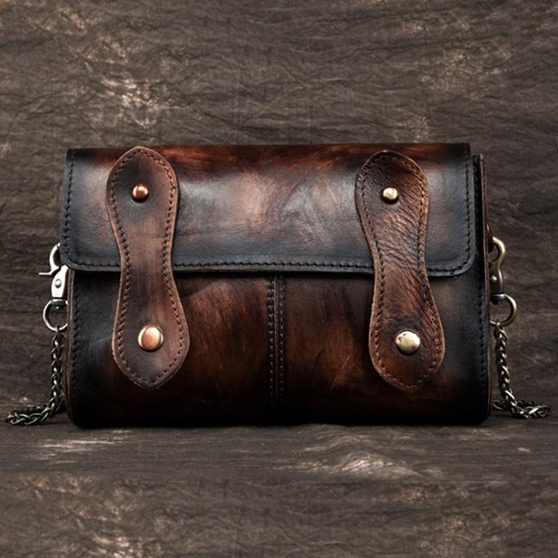 Fine Jewelry Men Oil Wax Genuine Leather First Layer Cowhide Vintage Waist Leg Bag Fanny Pack Travel Leisure Crossbody Messenger Pouch Riding Comfortable Feel