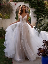 Illusion Appliques Tulle Wedding Dresses Bridal Gown Summer Bride Dresses V-Neck Sleeveless Backless Long Train vestido de noiva