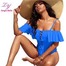 One Piece Swimsuit Women Swimwear Ruffle Bandage Swimsuit Women Sexy Low Cut Monokini Swimming Suit Beachwear