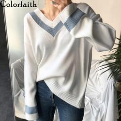 Colorfaith Новинка 2019 осень зима женские свитера черный белый пуловер корейский стиль минималистичный Повседневный офисный женский SW8853