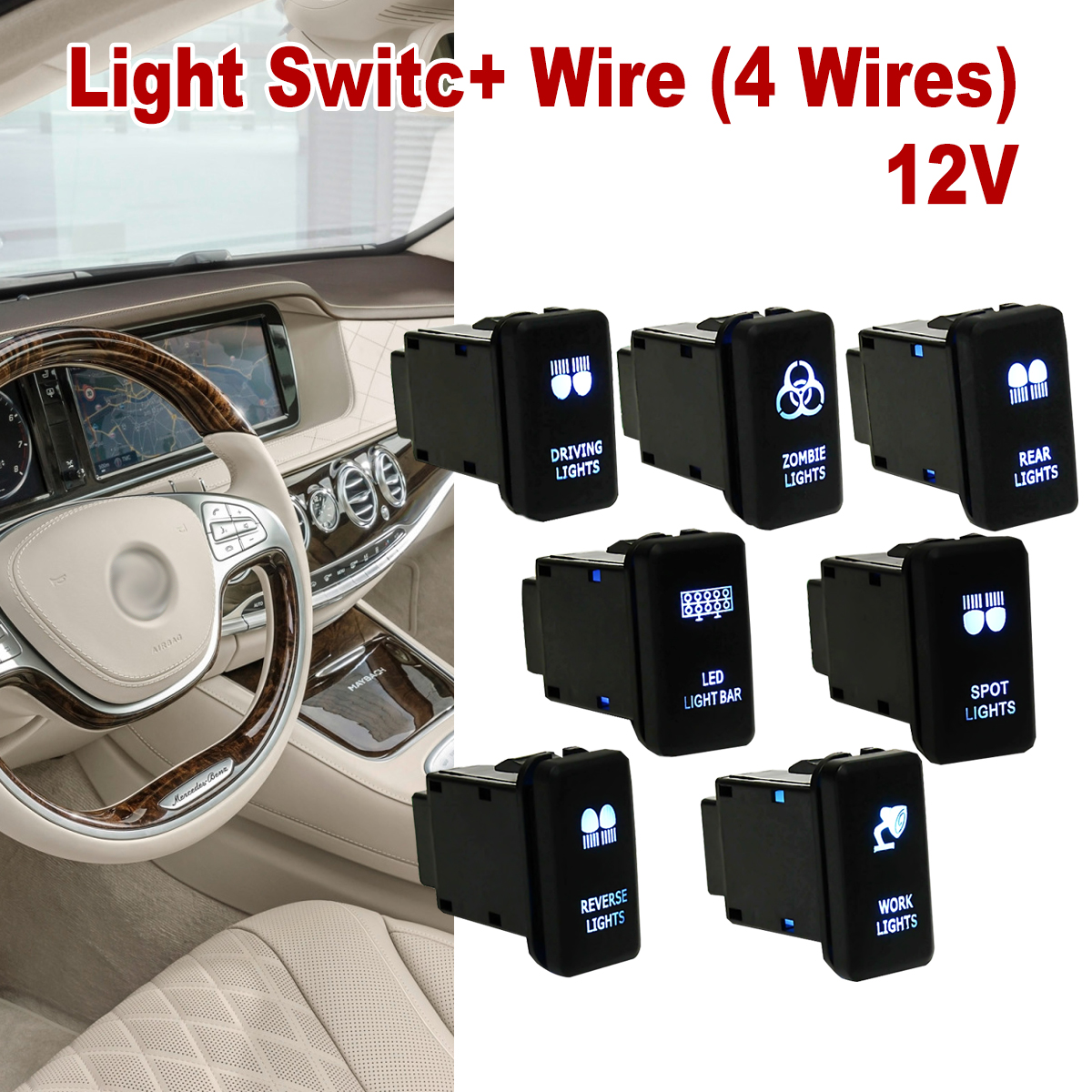 12v Car 4 Wiring Blue Led Light Bar Switch Push Button On Off For Toyota Landcruiser Hilux Prado In Switches Relays From Automobiles