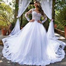 2019 Amazing Chapel Train Wedding Dress Stunning O-Neck Vestido De Noiva Long Sleeves Wedding Bridal Gowns