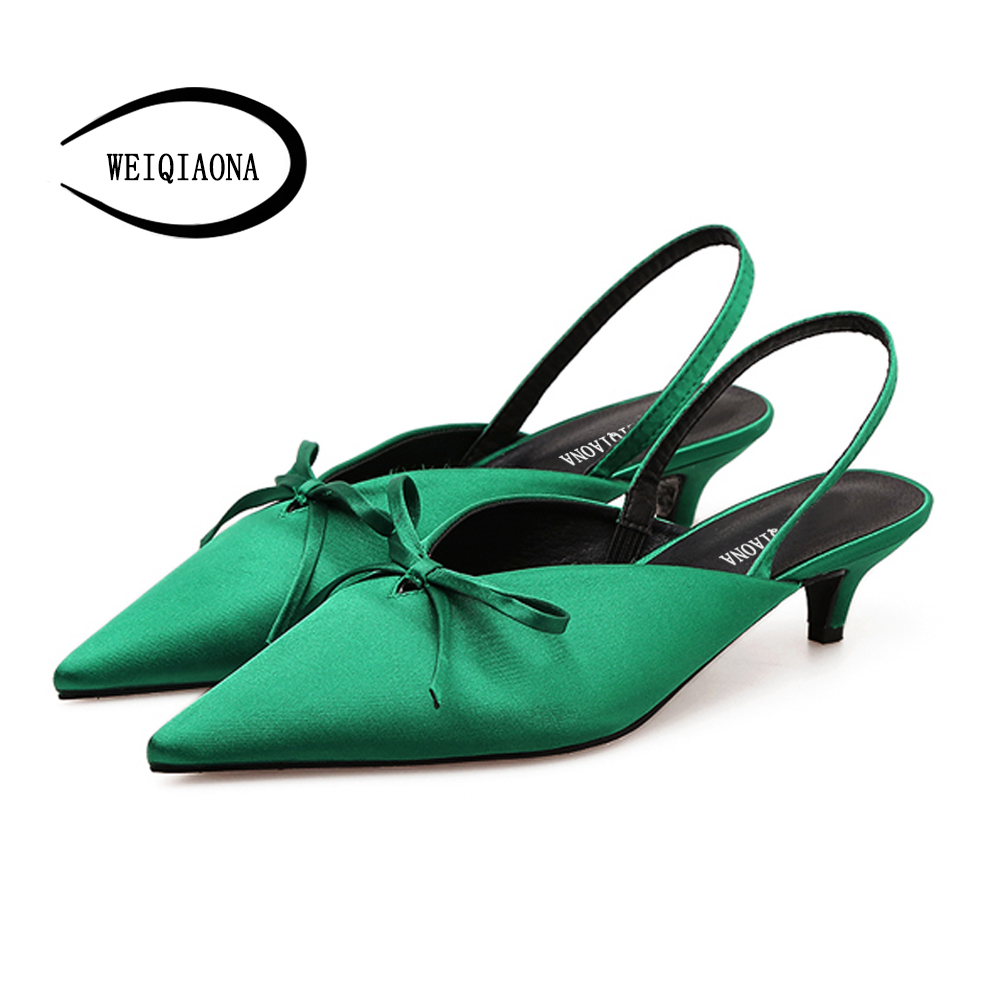 цены WEIQIAONA New Fashion summer Women's Silk sandals butterfly-knot low Heels pointed ankle strap pumps party shoes dress shoes