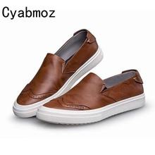 New 2017 High Quality Genuine Leather Men's Casual Flats Shoes Slip-on Bullock Retro Man Oxfords Driving Shoes Sapatos Masculino