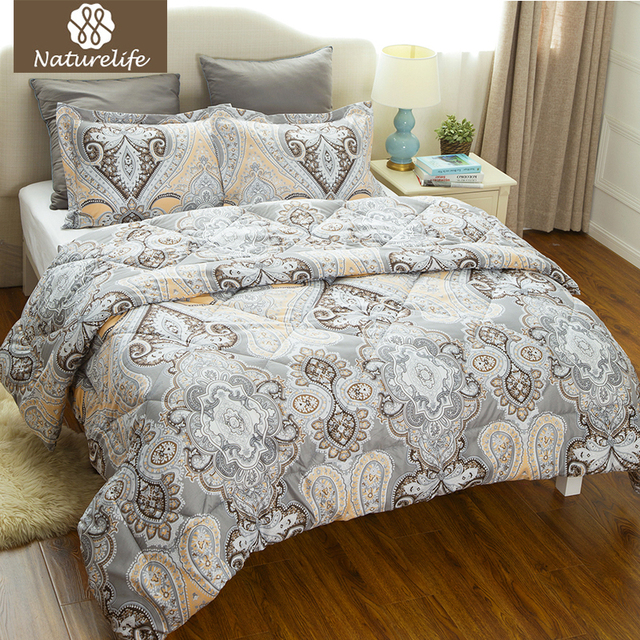 Naturelife Luxurious Flower Pattern Comforter Duvet Set 3 pcs Grey ...