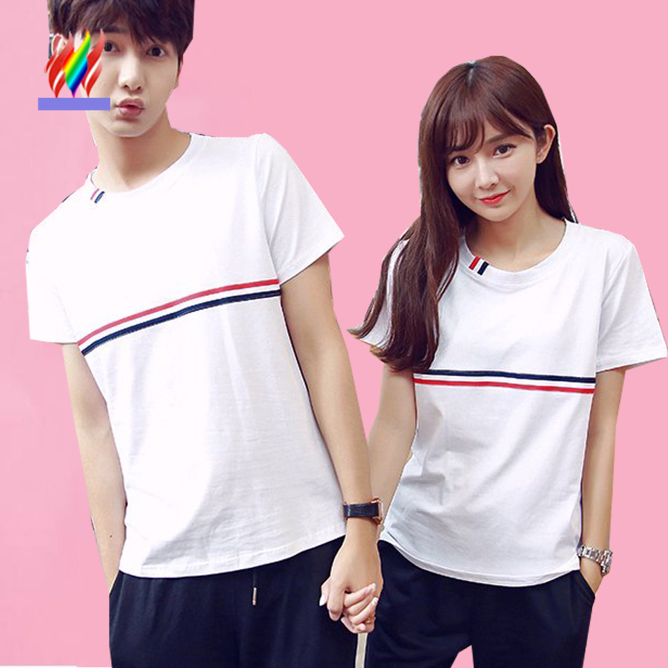 Couple t shirt design white - Hot Selling Tops Designer New Arrival Korean Matching Couples Clothes Summer Casual T Shirt Cute Sweet White T Shirts For Lovers