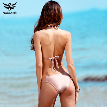 NAKIAEOI 2018 Newest Sexy Mesh Bikini Set Halter Swimwear Women Swimsuit Brazilian Bikini Summer Bathing Suit Swim Wear Biquini 2