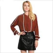New European Style Women's Temperament Fashion Wind Round Collar Woman Hitting Scene Long-Sleeved Polos Shirt Jacket