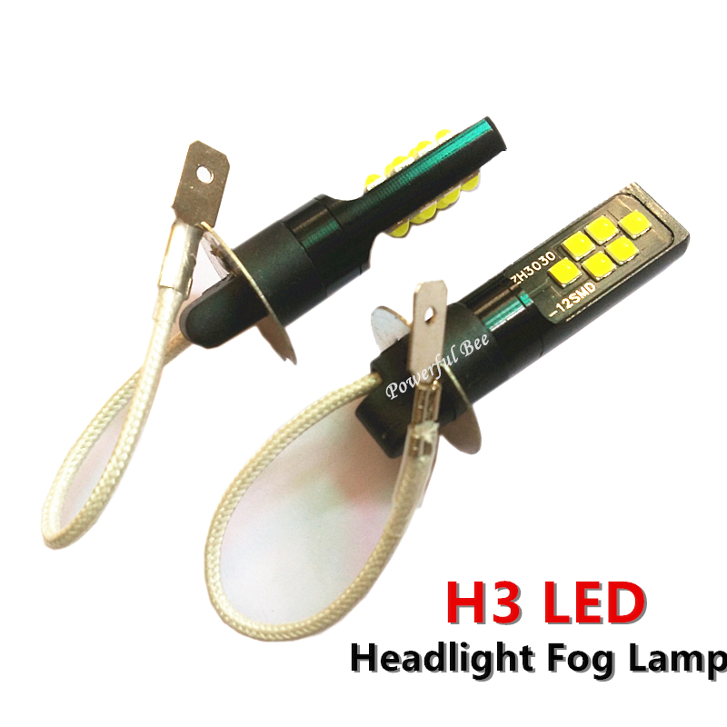 2x H3 3030SMD 24W Warm White Yellow Cold White LED Car Headlight Fog Lamp Lights DRL Bulb For Maz-da 6 2003-15  Corolla 2003-10