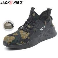 JACKSHIBO лето дышащая защитная обувь для мужчин анти-разбив рабочая обувь строительные защитные сапоги мужской прокол доказательство
